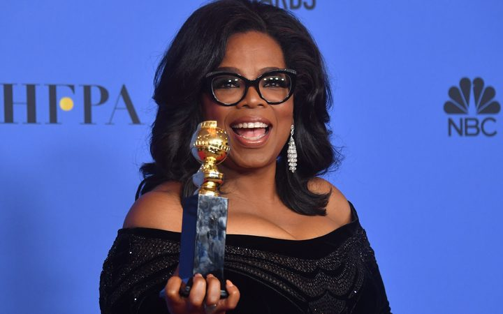 Actress and TV talk show host Oprah Winfrey with the Cecil B DeMille Award. She was praised for her speech which addressed recent sexual harassment scandals sweeping Hollywood.