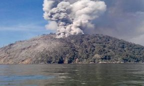 The erupting Kadovar Island