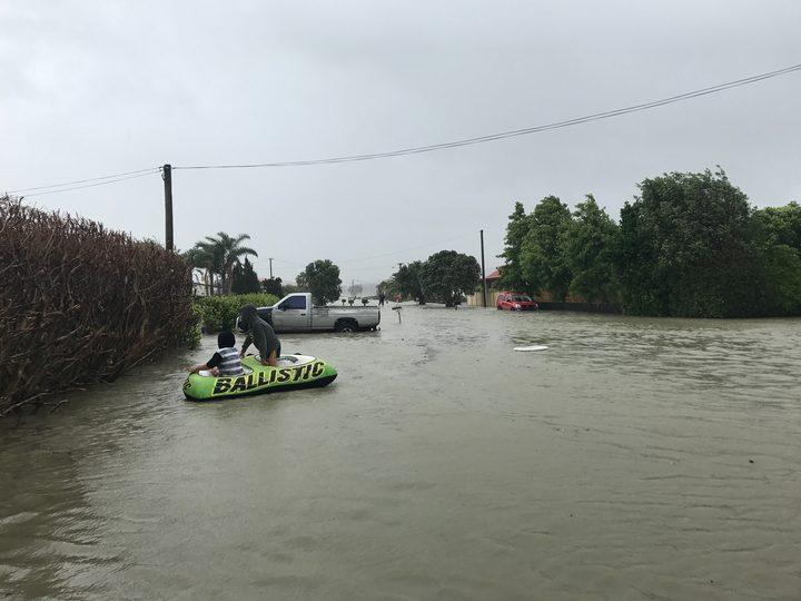 Flooding on Kowhai Ave in Kaiaua.