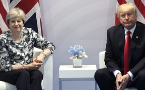 US President Donald Trump and British Prime Minister Theresa May at the G20 summit in Germany last year.
