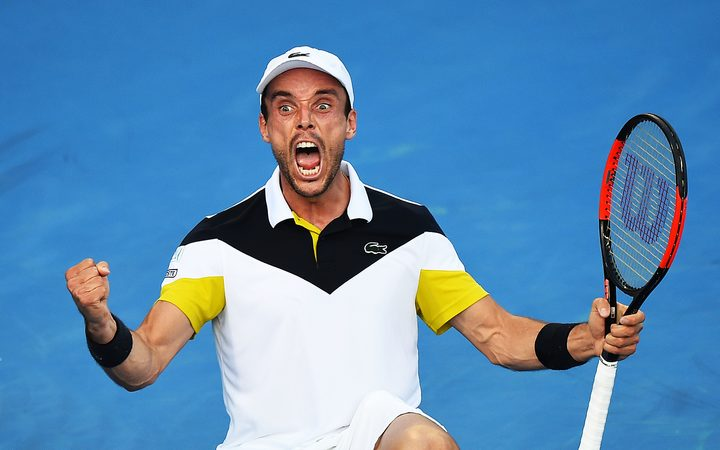 Roberto Bautista Agut (ESP) celebrates his win over Robin Haase (ESP) during the ASB Classic