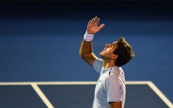 Juan Martin Del Potro (ARG) after winning his match against David Ferrer (ESP) during the ASB Classic