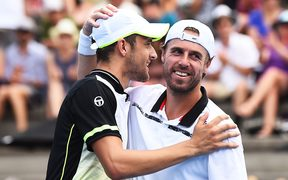 Mate Pavic, left, and Oliver Marach celebrate.