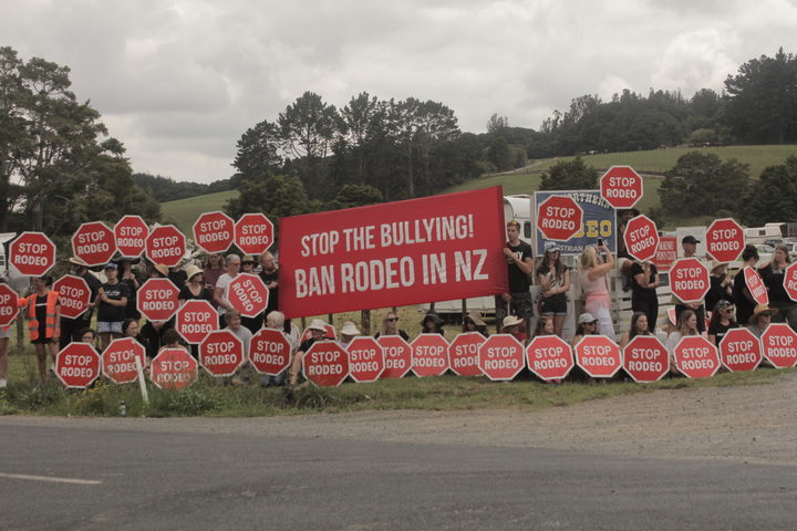A rodeo protest in Northland by the group Direct Animal Action.