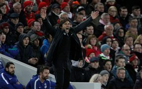 Chelsea coach Antonio Conte shouts instructions to his team.
