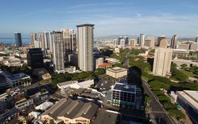 A morning view of the city of Honolulu, Hawaii on the morning a missile warning was sent out.