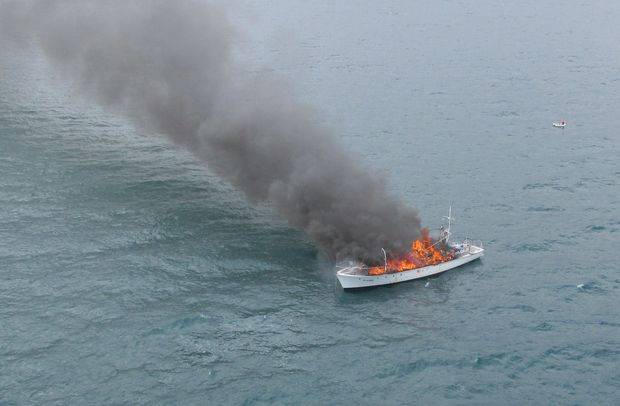 The Nelson Marlborough Rescue helicopter was despatched to the burning vessel near Pepin Island.