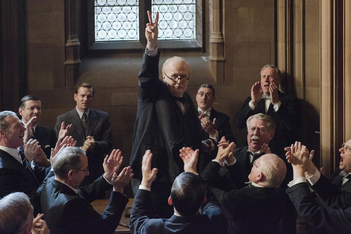 Gary Oldman as Winston Churchill inspires his parliamentary colleagues on the eve of Operation Dynamo in Darkest Hour.