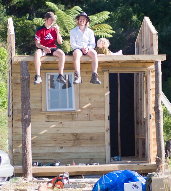Luke Concannon's, left, tiny house under construction.