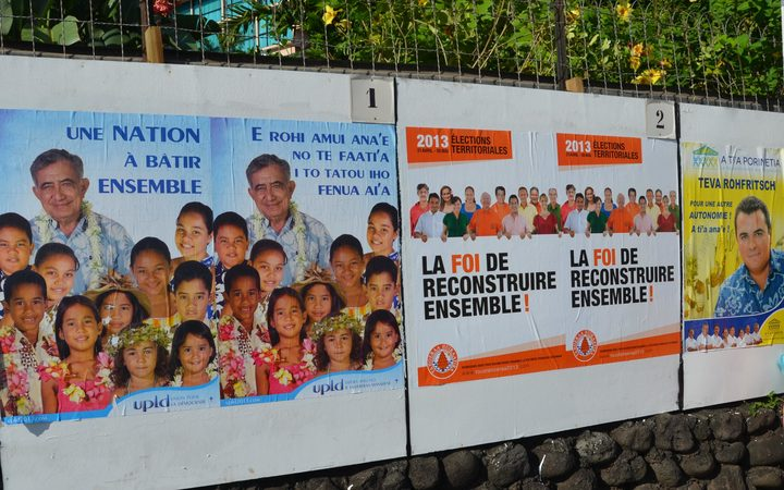 Campaign posters in French Polynesia for 2013 territorial election
