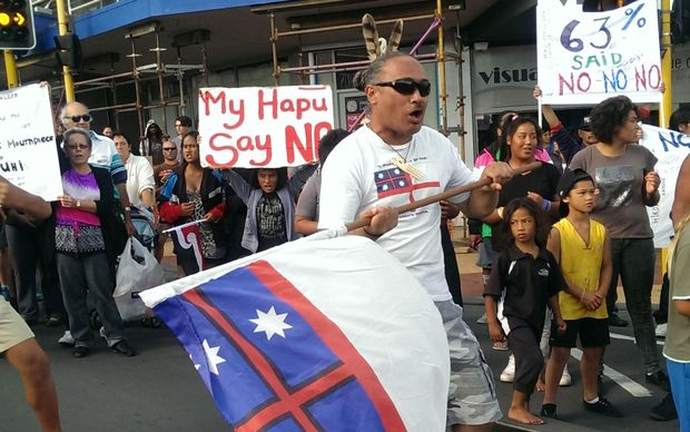 Protesters in Whangarei.