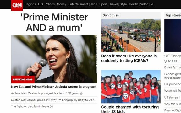 Prime Minister Jacinda Ardern's pregnancy announcement was widely covered by international media.