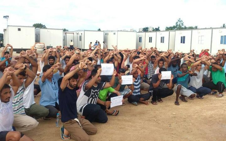 Manus Island refugees protest at West Lorengau Haus.