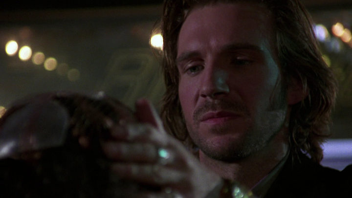 Ralph Fiennes as out-of-his-depth memory retailer Lenny Nero in Strange Days (1995).