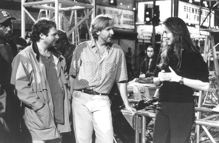 James Cameron (centre) and Kathryn Bigelow (right) on the set of Strange Days.