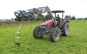 Rob Barry competing in the Young Farmer Tararua District contest.