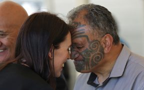 Prime Minister Jacinda Ardern being welcomed at Rātana.