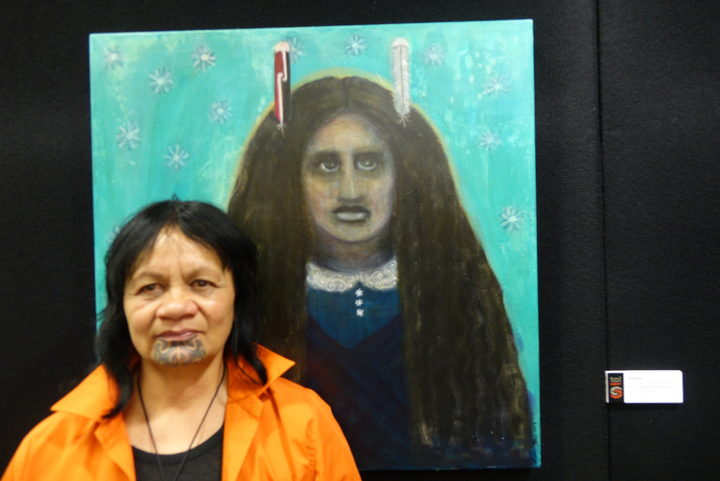 Artist and Northtec graduate Linda Munn with her recent work at Toi Ngāpuhi exhibition opening this week in Whangarei.