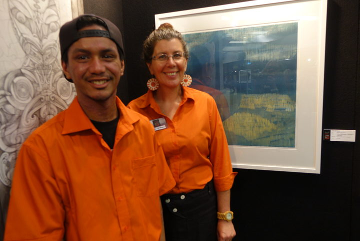 Visual Arts student Isaiah with Northtec turor and artist Faith McManus. He was accepted by an Auckland Art school but could not afford to live there. Now he's happily studying at Northtec's Whangarei campus.