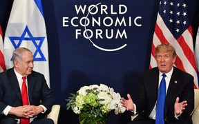US President Donald Trump, right, and Israel's Prime Minister Benjamin Netanyahu during a bilateral meeting on the sidelines of the World Economic Forum in Davos.