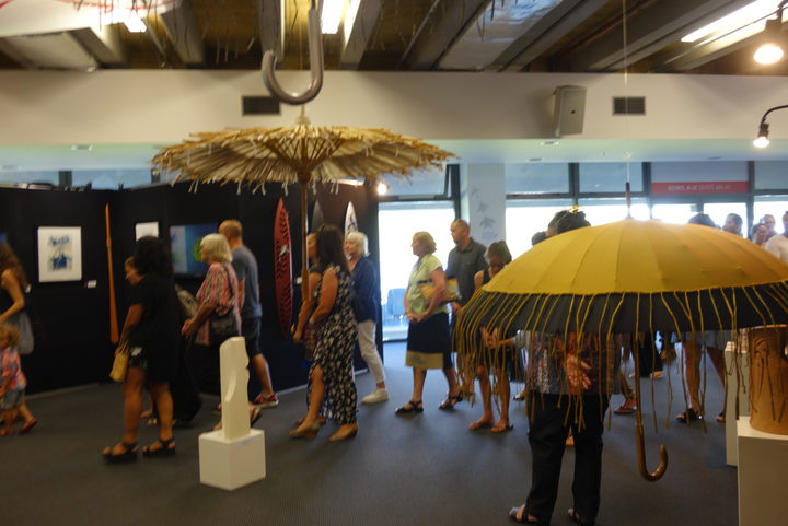 Scene from the Toi Ngāpuhi exhibition opening at Toll stadium in Whangarei.