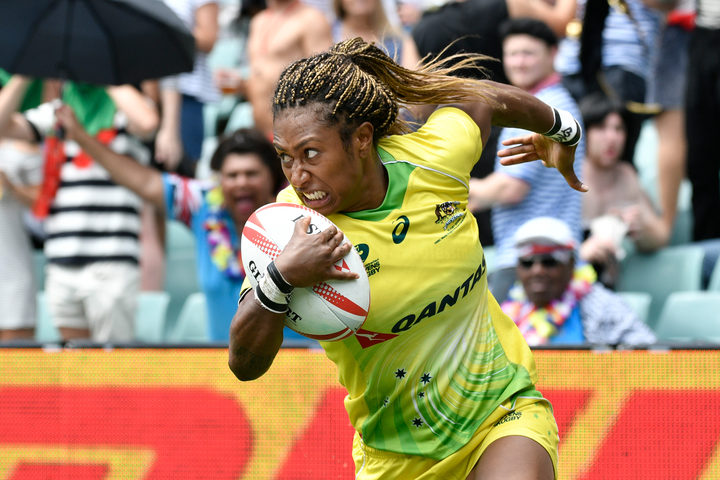 Australian sevens player Ella Green in full flight