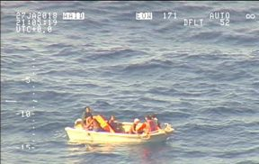 The NZ Defence Force found seven survivors from the ferry on this small boat.