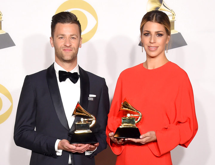 Songwriters Ben Fielding and Brooke Ligertwood, winners of Best Contemporary Christian Music Performance/Song pose in the press room during the 60th Annual GRAMMY Awards at Madison Square Garden on January 28, 2018 in New York City.