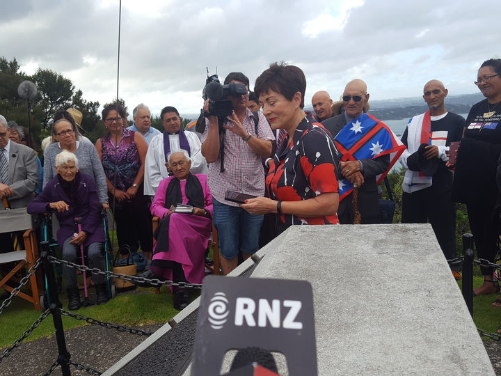 Governor-General Dame Patsy Reddy speaks at the flag ceremony in Russell, honouring tribes' efforts for peace following the northern wars.