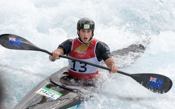 Luuka Jones competes in the K1 Canoe Slalom at the Rio Olympics.
