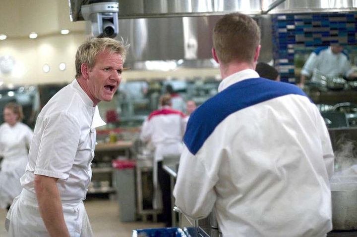 HELL'S KITCHEN: Chef Ramsay (L) gets fired up during dinner service  on an all-new HELL'S KITCHEN airing Tuesday, Aug. 18 (8:00-9:00 PM ET/PT) on FOX. ©2009 Fox Broadcasting Co. Cr: Patrick Wymore/FOX