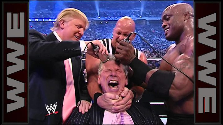 Donald Trump shaving the head of Vince McMahon in WWF's Battle of the Billionaires in 2007