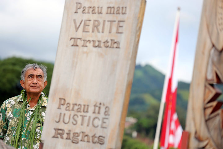 Former president of French Polynesia Oscar Temaru at memorial dedicated to nuclear test victims
