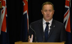 Prime Minister John Key announcing the election date at a post-Cabinet news conference