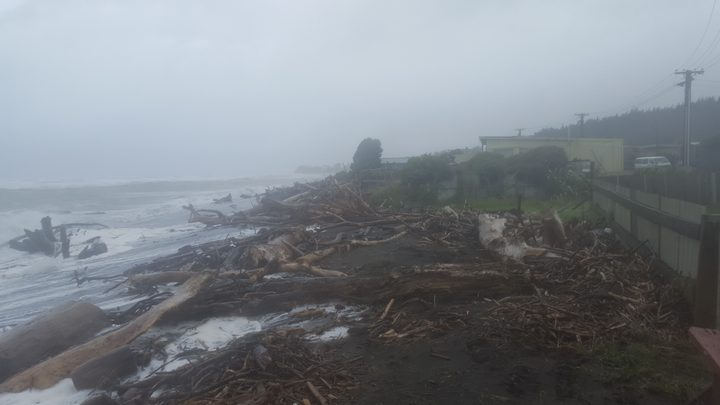 Debris on Waitara beach