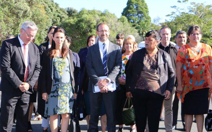 Prime Minster Jacinda Ardern with senior MPs.Photo/ Shannon Haunui-Thompson