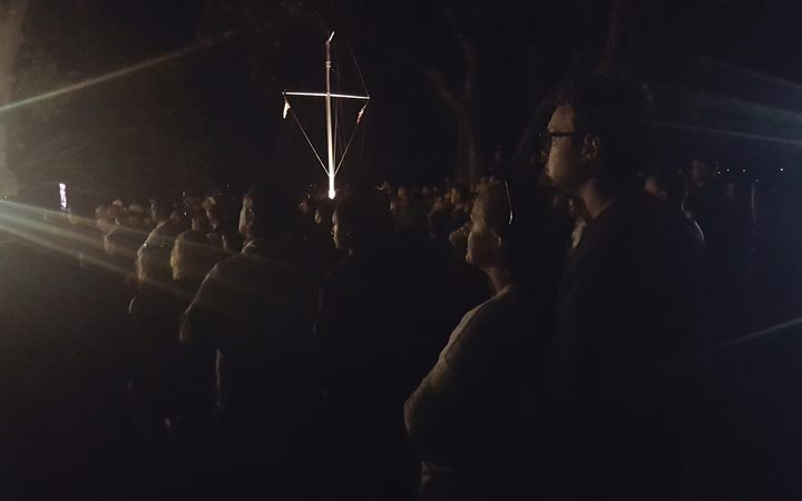The crowd at the Waitangi dawn service.
