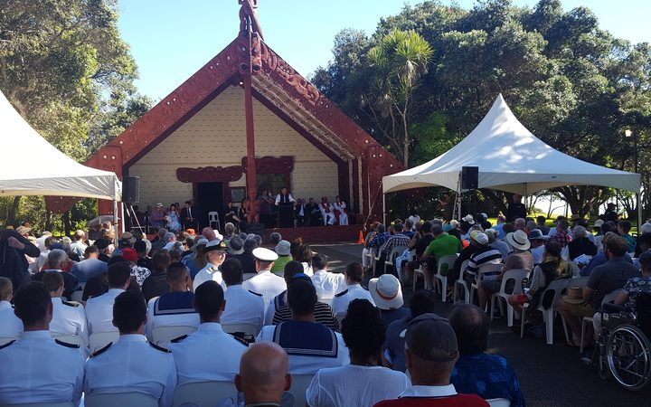 Congregation gathers for church service on Treaty Grounds.