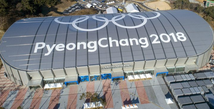 An aerial view of Gangneung Oval of Gangneung Coastal Cluster for Pyeongchang 2018 Winter Olympic Games.