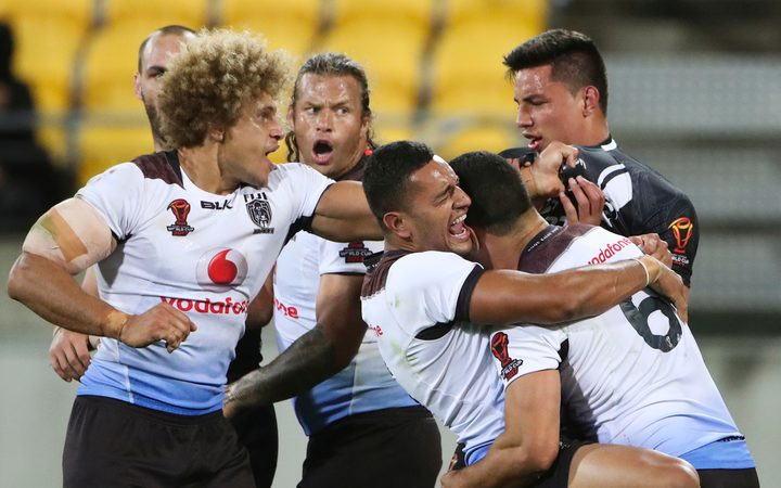 Fiji celebrate their quarter final win over the Kiwis.