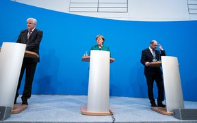 Premier of Bavaria and chairman of the Christian Social Union Horst Seehofer,  German Chancellor and chairwoman of the Christian Democratic Union (CDU) Angela Merkel, and Social Democratic Party (SPD) chairman Martin Schulz announce they have negotiated a coalition agreement.