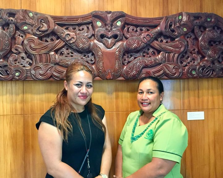 (L-R) New Zealand High Commission Team Administrator (Development), Lesieli Nai, with Pelenitina Vao