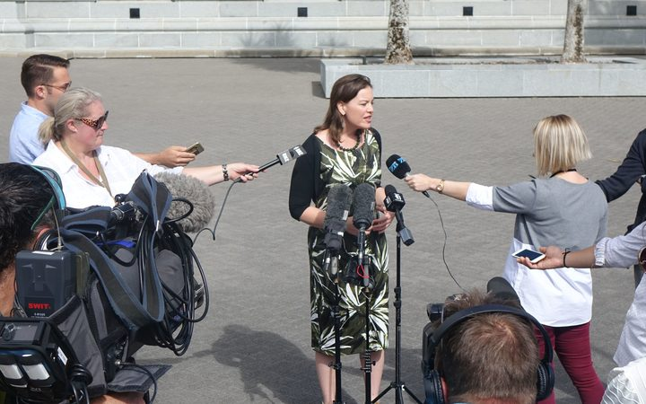 Ms Genter announcing her candidacy at Parliament this morning.