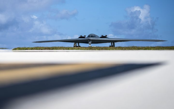 An Air Force B-2 Spirit taxis on the flightline at Andersen Air Force Base, Guam, Jan. 8, 2018.