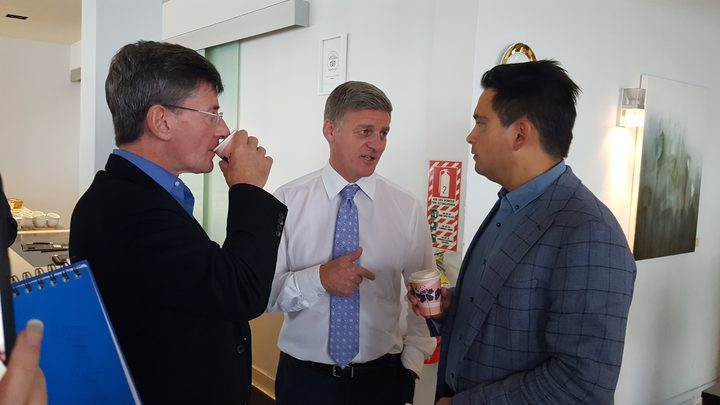 National Party leader Bill English (centre) with MPs Chris Finlayson (left) and Simon Bridges (right).