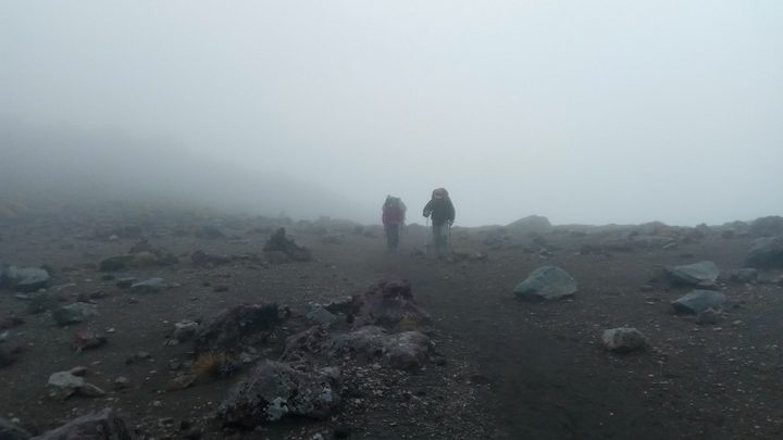 Trampers in the Tongariro mist