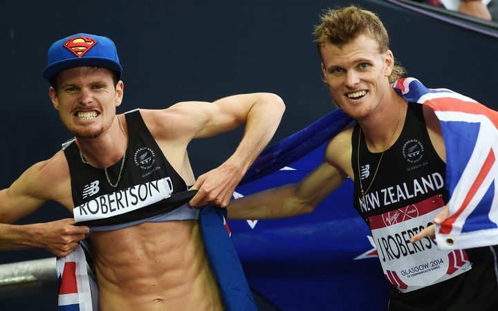 New Zealand's Zane Robertson celebrates after winning the bronze medal in the Men's 5000 metres at the Glasgow Commonwealth Games.