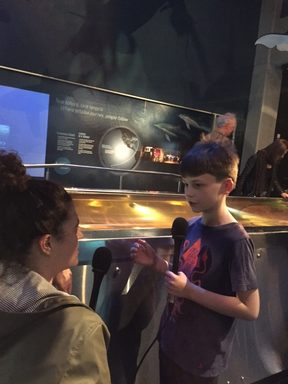 Noelle McCarthy and Sam Cousins discuss the colossal squid at Te Papa, Wellington