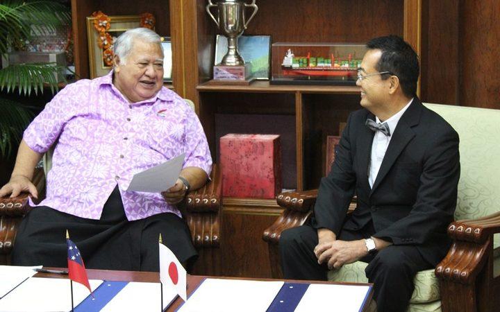Prime Minister Tuilaepa Sailele Malielegaoi and the ambassador of Japan,Maugaoleatuolo Shinya Aoki.