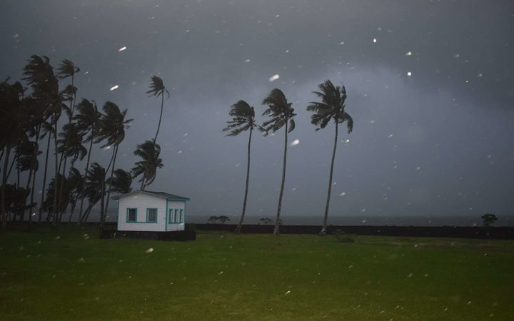 This picture, taken from Mulinuu on Friday night, shows Cyclone Gita gradually moving towards Samoa.